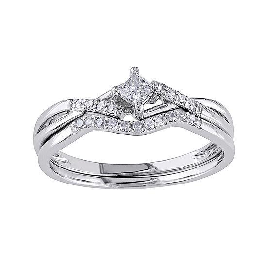 1/5 CT. T.W. Diamond 10K White Gold Bridal Ring Set