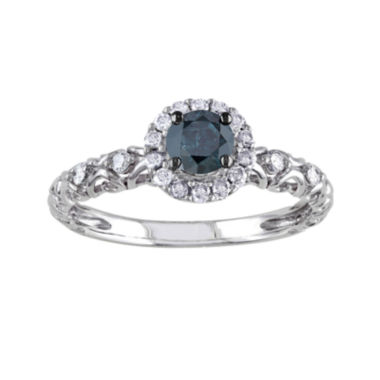 1/2 CT. T.W. White and Color-Enhanced Blue Diamond Ring