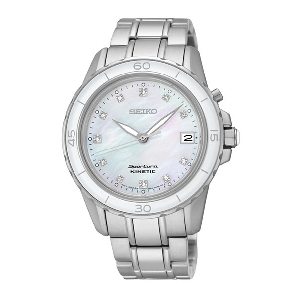 Seiko® Sportura Womens Diamond-Accent Kinetic Bracelet Sport Watch SKA881