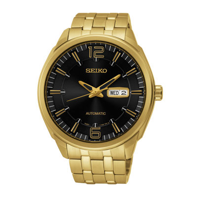 Seiko® Recraft Mens Gold-Tone Stainless Steel Automatic Watch SNKN48