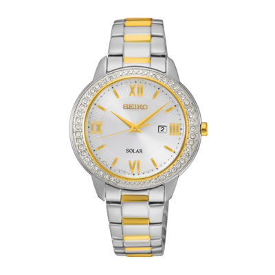 Seiko® Recraft Womens Crystal-Accent Two-Tone Stainless Steel Solar Bracelet Watch SUT246