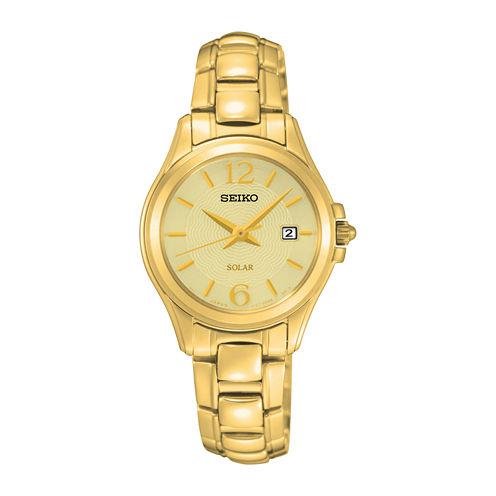 Seiko® Womens Gold-Tone Stainless Steel Solar Bracelet Watch SUT236
