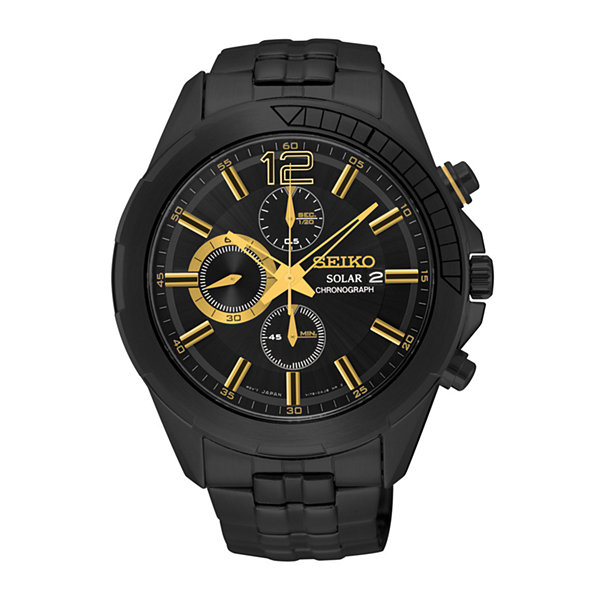 Seiko® Mens Black Stainless Steel Solar Chronograph Sport Watch SSC395