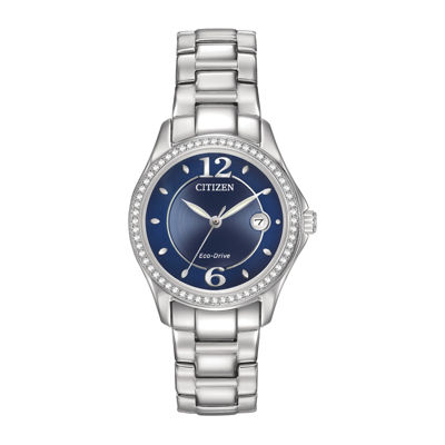 Citizen® Eco-Drive® Silhouette Womens Crystal-Accent Stainless Steel Bracelet Watch FE1140-86L