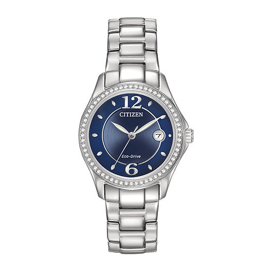 Citizen Silhouette Crystal Womens Silver Tone Stainless Steel Bracelet Watch - Fe1140-86l