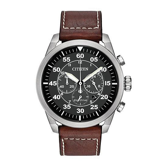 Citizen Avion Mens Chronograph Brown Leather Strap Watch-Ca4210-24e