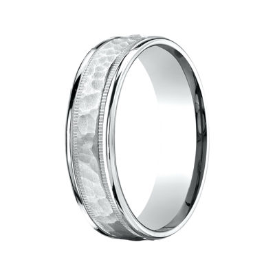 Mens 10K White Gold 6mm Hammered Band
