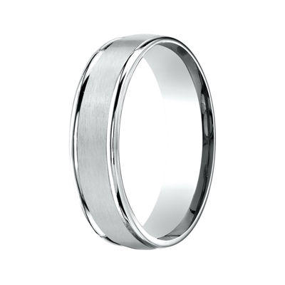 Mens 10K White Gold 6mm Band