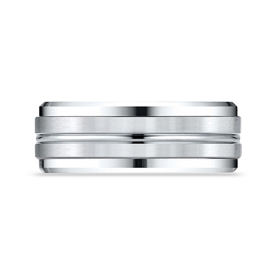 Mens 10K White Gold 8mm Band