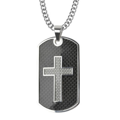 Inox® Mens Black Stainless Steel Cross Dog Tag Pendant Necklace