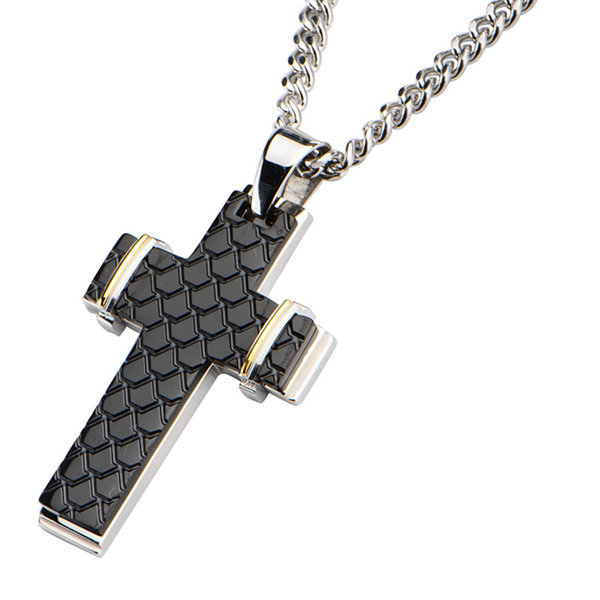 Inox® Mens Tri-Tone Stainless Steel Fish Scale Cross Pendant Necklace