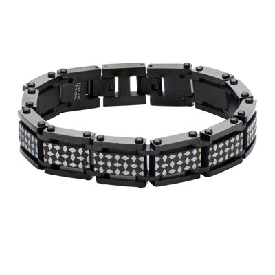 Inox® Mens Black IP Stainless Steel Link Bracelet