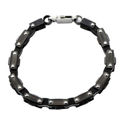 Inox® Mens Black Stainless Steel Motor Chain Bracelet