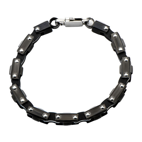 Inox® Mens Black Stainless Steel Motor Chain Bracelet