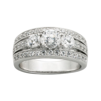 DiamonArtR Cubic Zirconia Sterling Silver 3 Stone Wedding Band