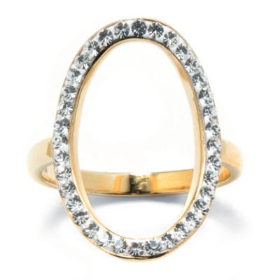 14K Gold Over Silver Crystal Open Circle Ring