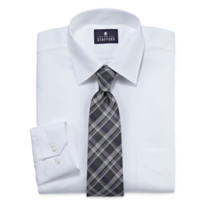 Stafford® Travel Easy-Care Dress Shirt and Tie Set - Big And Tall