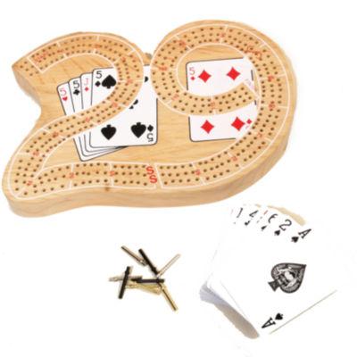 29 Wood Cribbage W Playing Cards & Metal Pegs