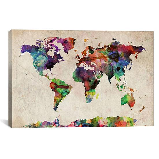 World Map Urba Watercolor II by Michael Tompsett Canvas Wall Art