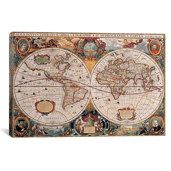 icanvas antique world map by henricus hondius 18x26 canvas wall art