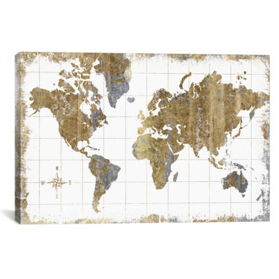 iCanvas® Gilded Map By All That Glitters Wall Art