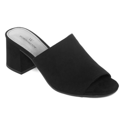 Worthington Womens Fritz Mules Pull-on Open Toe