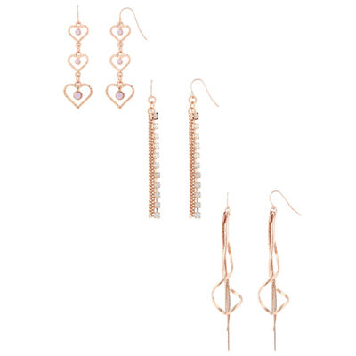 Decree 3 Pair Multi Color Earring Set