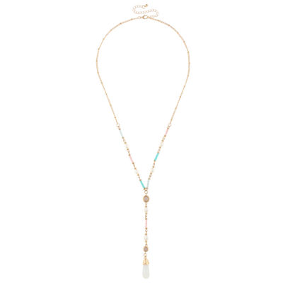 Decree Womens Pink Y Necklace