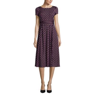 Perceptions Short Sleeve Dots Fit & Flare Dress