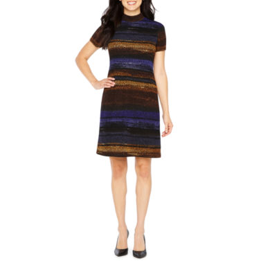London Style Short Sleeve Ombre Shift Dress