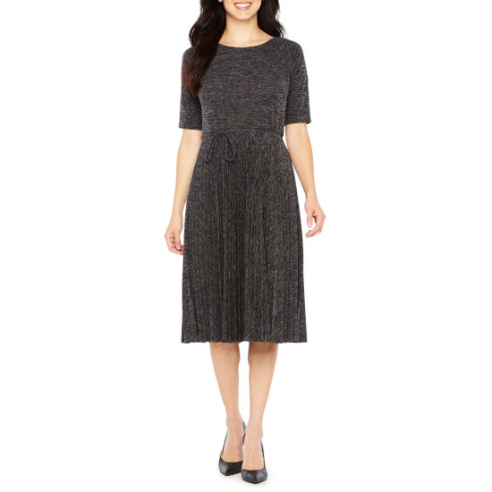 Danny & Nicole Elbow Sleeve A-Line Dress