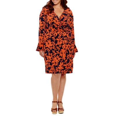 London Times Long Sleeve Floral Wrap Dress - Plus