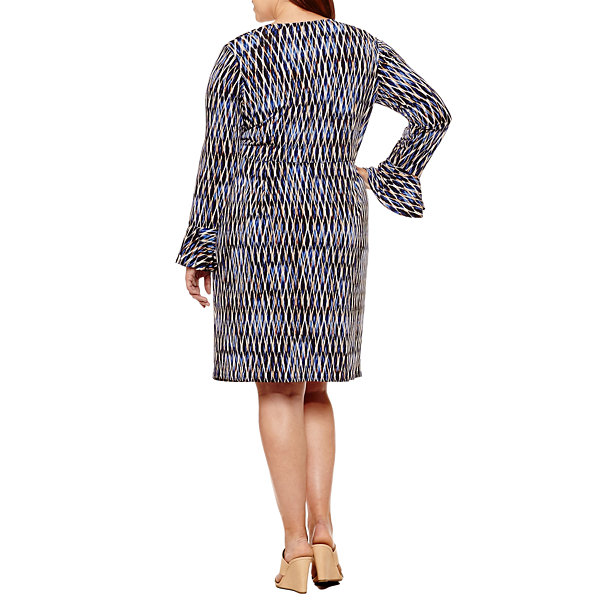 London Times Long Sleeve Geometric Wrap Dress - Plus