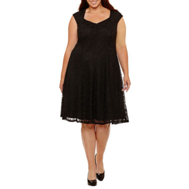 Liz Claiborne Short Sleeve Fit & Flare Dress-Plus