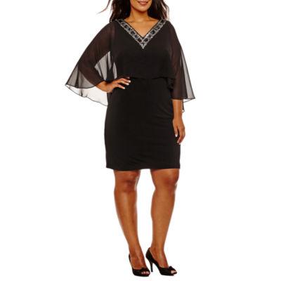 Melrose 3/4 Sleeve Embellished Sheath Dress-Plus