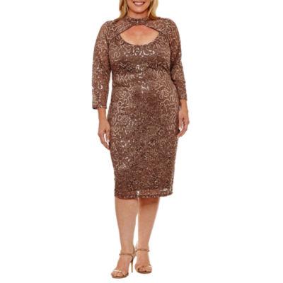 Blu Sage 3/4 Sleeve Sheath Dress-Plus