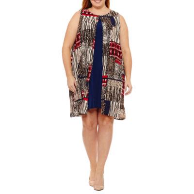London Times Sleeveless Patchwork Sheath Dress-Plus