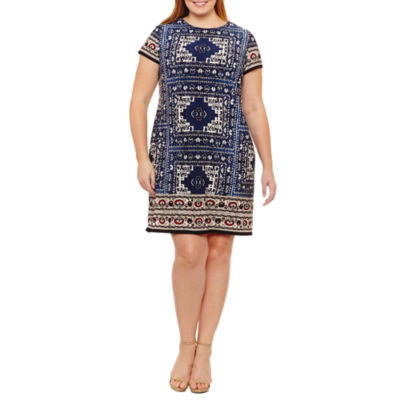 London Times Short Sleeve Sheath Dress - Plus