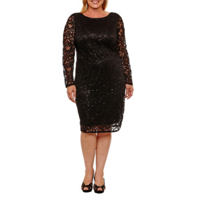 Blu Sage Long Sleeve Sequin Lace Sheath Dress - Plus