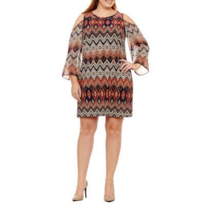 R & K Originals Long Sleeve Chevron Sheath Dress-Plus