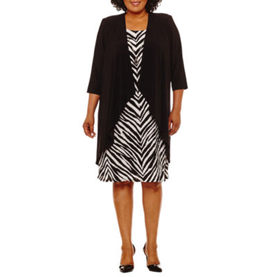 R & M Richards 3/4 Sleeve Jacket Dress-Plus