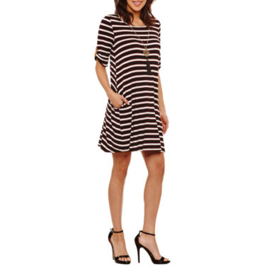 Alyx Elbow Sleeve Stripe Shift Dress-Petites