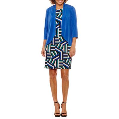R & K Originals Elbow Sleeve Pattern Shift Dress-Petites