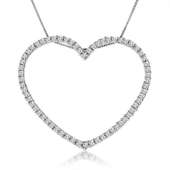 Womens 1 CT. T.W. Genuine White Diamond 10K Gold Heart Pendant Necklace