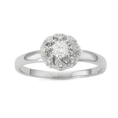 Womens 1/3 CT. T.W. Genuine White Diamond 10K Gold Promise Ring