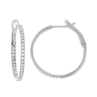 1/2 CT. T.W. GENUINE White Diamond 14K Gold 21.1mm Hoop Earrings