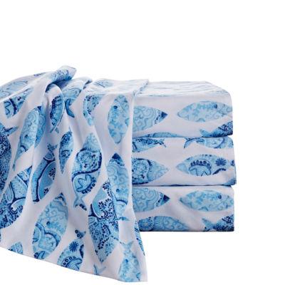 By the Seashore Fish Blue Microfiber Sheet Set