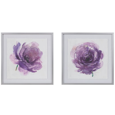 Madison Park Purple Ladies Rose 2-pc. Floral Print