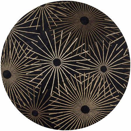 Decor 140 Oamaru Hand Tufted Round Indoor Rugs, One Size , Black