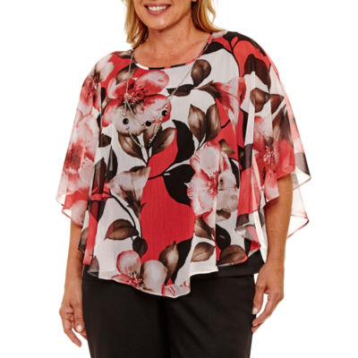 Alfred Dunner Saratoga Springs Short Sleeve Exploded Floral Overlay Blouse-Plus